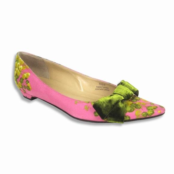 cef78b1cf2b J. Crew Shoes - J.Crew 8 Italian Silk Pointy Toe Flats Velvet Bow